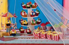 cupcake displays, carniv parti, circus theme, birthday parties, theme parties, circus birthday, big top, parti idea, circus party