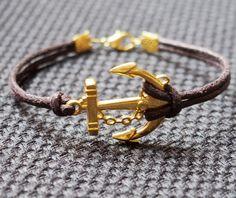 Anchor Bracelet Single Bracelet in Gold Color-Brown Leather Bracelet-Men Women Gift-Best Friendship Jewelry Gift THIS ONE IS BOMBBBBBBBBBBBBBBBBBB