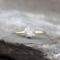 Raw Diamond Ring14K Yellow GoldSterling by ASecondTime