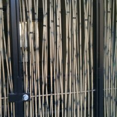 Metal bars of gate painted to look like bamboo.
