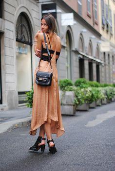 open back, maxi dress, street style