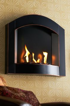 Wall Mounted Black Arch Fireplace
