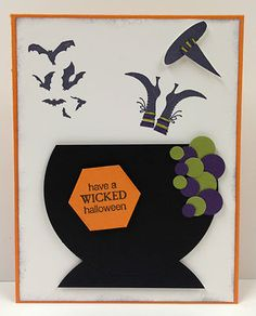 Cauldron Stampin Up Halloween card kit (5 cards)