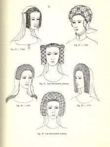 Plantagenet Crespine ( 1364-Late 14th century)  Wearing the hair in vertical braids continued to be in fashion throughout the Planagenet period. Headdresses like fig. 25 featured fillets made of silver and gold, set with jewels. False hair was probably used and the whole piece would simply be placed over the head.  The crespine led to more elaborate headdresses like fig. 26 and fig. 27, where narrow bands of metal, or wire, were made into a reticulated mesh which would sometimes be set with j...