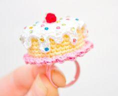 Dripping Rainbow Confetti Cake Mini Crochet Ring by Sugar Junkie