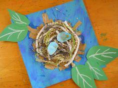 bird nests, mixed media, elementari art, mix media, elementary art