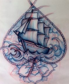 tattoo ship oldschool  WOW!!! this is superb!! although....at 1st i thought this was an insane tattoo that looks like a whimsical pencil sketch, but if u look closely on the left i think u can see the edge of a piece of paper....whatever's going on, it's downright beautiful! & i'd love to see the final results! but like i said, if this is it, that's awesome! either way!! :)
