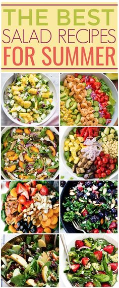 Whether you like fruit in your salad, only veggies, no dressing,  homemade dressing, there's a recipe in this post for you. These are The Best  Salad Recipes For Summer, and I hope you enjoy them! . #recipes #easyrecipes #funrecipes #deliciousrecipes  #recipeideas #easyrecipeideas #yummyrecipes #salads #saladrecipes #summersalads  #fruitsalad