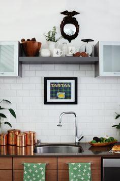 design homes, home interiors, tea towels, cabinet, sarah sherman