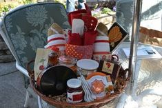 """Breakfast in Bed,"" gift basket I put together for my cousins wedding.  Check out blog for complete list of contents! :) http://tylerandbrianastafford.blogspot.com/2011/06/darling-gift.html"