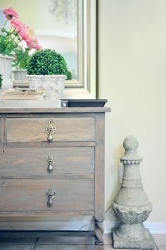 Dresser makeover with Driftwood Gray stain.