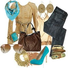Gold Brown Turquoise Outfit