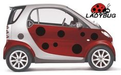 Product Description   Brighten up your ride with this great Ladybug car sticker kit! Each kit comes with a set of black spots and two 'Ladybug' logos. The small kit is suitable for compact cars such as the Smart, Fiat 500 or Mini; the large kit has 50% more spots than shown, and is suitable for any car or truck.