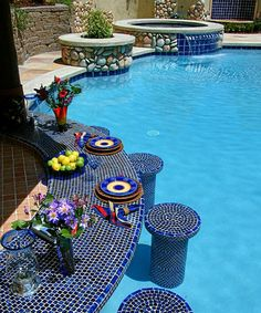 Swim up bar| Nice tile work <3. I am closing my Outside-In Board & creating Outside-In2. I can't find anything with so many pins & it is time for me to start working in my yard! Hope to see you on  Outside-In2!
