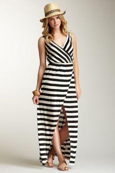 stripe surplic, maxi dresses, hautelook, fashion, surplic maxi