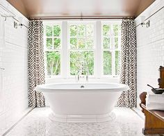 tub, classic white, bathroom designs, window treatments, white bathrooms, tile bathroom, subway tiles, curtain, bathroom windows