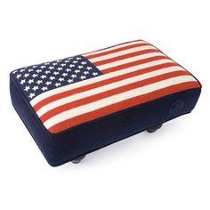 Jonathan Adler American Flag Needlepoint Stool in In Stock And Casegoods