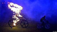 Burning cyclist