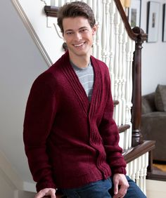 Handsome Harry Cardigan Knitting Pattern | Red Heart