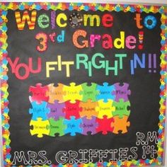 Welcome to 3rd grade. you fit right in. puzzle theme bulletin board