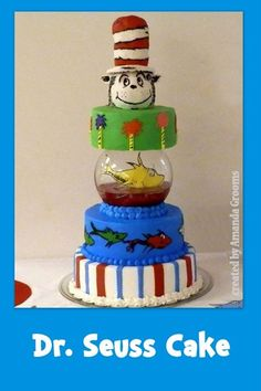 Dr. Seuss Cake and Baby Shower Ideas at obSEUSSed. i just love the idea of putting a fishbowl as a layer of ANY cake!