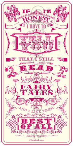 Fairytale quote by Audrey Hepburn/Poster art by gemgoode