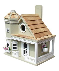 Green Flower Pot Cottage Birdhouse