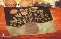 Primitive Folk Art Wool Applique Pattern:  SPRING BOUQUET