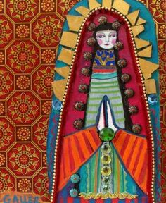 angel, guadalup, mexican art, art paintings, mexican folk art, virgin, folkart, print, mosaic art