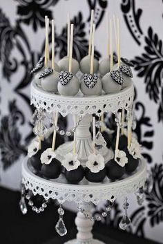 Elegant Silver & Black Wedding Cake Pops