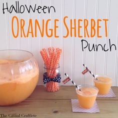 Looking for a fabulous punch to serve at your Halloween party? Well, look no further. This Orange Sherbet Punch is AMAZING! It is full of orange flavor and is so decadent, it could even be dessert! This punch is super easy to make with jus