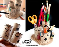 toilet paper tubes into a desk organizer for pens and pencils