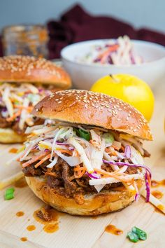 Apple BBQ Pulled Chicken Sandwiches appl slaw, appl bbq, chicken sandwich