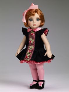 """Patsy - Blush, Berry, and Velvet - Outfit Only $74.99 Reserve yours now! Outfit only #dollchat #tonner #fashion #dolls Fits 10"""" bend knee child body Black velveteen dress with a coral satin collar, flower decoration, and attached black net underskirt with pink satin trim Pink tights Black faux leather shoes with flower decoration LE 300"""