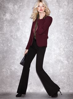 The Very Sexy Flare Pants with a Burgundy Blazer and Black Clutch #VSinsider