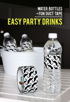 12 DIY Party Tips You Won't Want to Miss.  Pretty in Drink    Use colorful duct tape for cute water bottle labels. A quick and easy idea for customizing for a party theme. See more fun ideas like this at Formal Fridge.