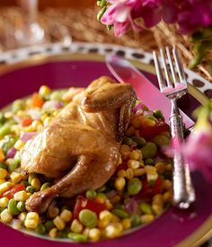 Great Gatherings: Glamorous Dinner Party—With a Purpose - Traditional Home- Recipe for Roasted Game Hens with Fall Succotash