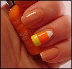 candy corn nails, candi corn, fall nails, candies, candycorn, beauti, nail art, designer clothing, halloween nails
