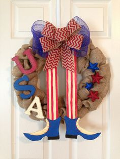 FOURTH JULY WREATH, Patriotic Wreath/Door Hanger, Americana Wreath, Summer Door Hanger, Burlap Holiday Wreath on Etsy, $79.00