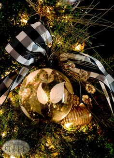 Tie a piece of ribbon to make a ornament pop!