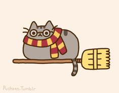 Pusheen the cat as harry potter flying on his broom stick!! :) Awww!!! <3