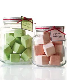 Make these homemade bath fizzies using ice cube trays as molds to give them a clean shape.  Place them in a clear jar with some pretty ribbo...