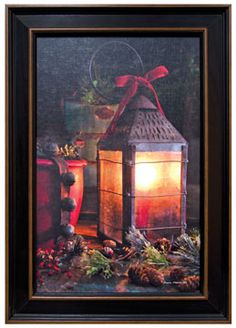 Framed Christmas Lantern - Kruenpeeper Creek Country Gifts