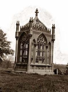 Early photo of President James Monroe's tomb at Hollywood Cemetery, Richmond, VA.  No other graves around it as it is today.