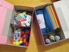 Tissue boxes into Craft Stuff storage. Super easy.