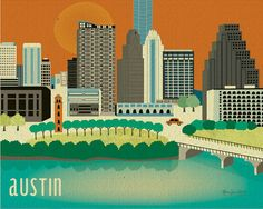Austin, Texas Skyline - 8 x 10 Wall Art Poster Print for Home Decor, Office, Child's Nursery Wall Art BEST SELLER - style E8-O-AU on Etsy, $26.00