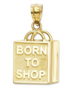 "14k Gold Charm, ""Born to Shop"" Shopping Bag Charm - Bracelets - Jewelry & Watches - Macy's"