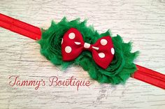 Christmas Headband  Red and Green Headband Red by TammysBowtique, $6.25