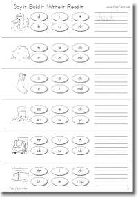 Printable phonics workbook and printable worksheets on ch, sh, th, ck, ng, ck, th, wh; consonant digraph worksheets