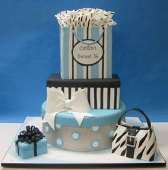 stripes sweet 16 cake